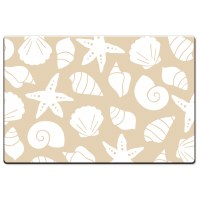 "20"" x 30"" Beige and White Beach Shells Cushion Mat"