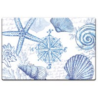 "20"" x 30"" Blue and White Shell Cushion Mat"