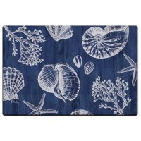 "20"" x 30"" Navy and White Shells Cushion Mat"