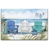 "20"" x 30"" Aqua and Blue Chairs On Beach Cushion Mat"