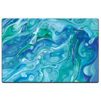 "20"" x 30"" Blue and Green Faux Marble Cushion Mat"