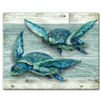 "12"" x 15"" 2 Blue and Green Turtles Cutting Board"