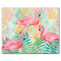 "12"" x 15"" Flamingo On Pastel Cutting Board"