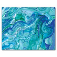 "12"" x 15"" Blue and Green Faux Marble Cutting Board"