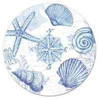 "13"" Round Blue and White Shell Lazy Susan"