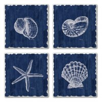 "Set of 4/ 4"" Tumbled Tile Navy and White Assorted Shells Coasters"