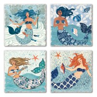 "Set of 4/ 4"" Tumbled Tile Assorted Mermaids Coasters"