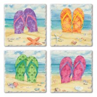 "Set of 4/ 4"" Tumbled Tile Assorted Multicolored Flip Flops In Sand Coasters"