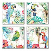 "Set of 4/ 4"" Tumbled Tile Assorted Tropical Birds Coasters"