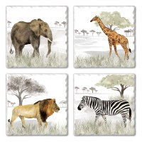 "Set of 4/ 4"" Tumbled Tile Assorted Serengeti Coasters"