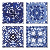 "Set of 4/ 4"" Tumbled Tile Assorted Dark Blue Coasters"