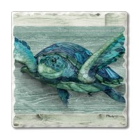 "Set of 4/ 4"" Tumbled Tile Blue and Green Turtle Coaster"