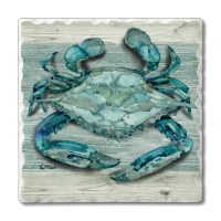 "Set of 4/ 4"" Tumbled Tile Blue and Green Crab Coasters"