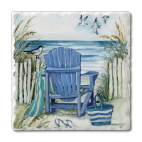 "Set of 4/ 4"" Tumbled Tile Blue Chair On Beach Coasters"