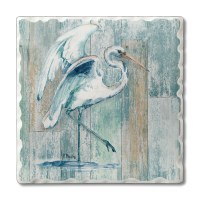 "Set of 4/ 4"" Tumbled Tile White Egret Coasters"
