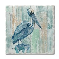 "Set of 4/ 4"" Tumbled Tile Blue Pelican Coasters"