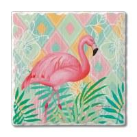 """Set of 4/ 4"""" Tumbled Tile Flamingo On Pastel Coasters"""