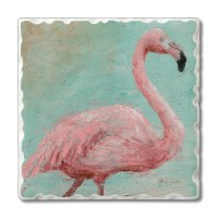 "Set of 4/ 4"" Tumbled Tile Flamingo On Aqua Coasters"