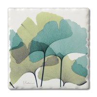 "Set of 4/ 4"" Tumbled Tile Blue and Green Ginkgo Leaves Coasters"