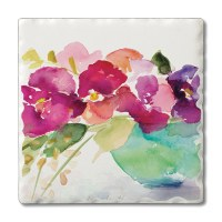 "Set of 4/ 4"" Tumbled Tile Bowl Of Blooms Coasters"