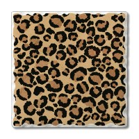 "Set of 4 4"" Tumbled Tile Leopard Spots Coasters"
