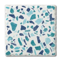 "Set of 4 4"" Tumbled Tile Blue Terrazo Coasters"