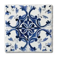 "Set of 4 4"" Tumbled Tile Blue and White Coasters"