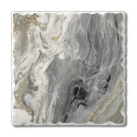 "Set of 4 4"" Tumbled Tile Gray and Gold Faux Quartz Coasters"