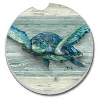"3"" Round Blue and Green Sea Turtle Car Coaster"