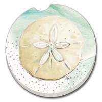 "3"" Round Beige Sand Dollar Car Coaster"