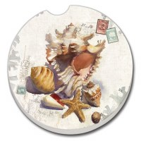 "3"" Round Sun Shells Car Coaster"