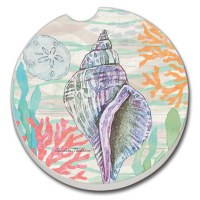 "3"" Round Pastel Shells Car Coaster"