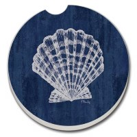 "3"" Round Navy Shells Car Coaster"
