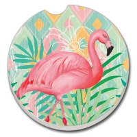 "3"" Round Flamingo On Pastel Car Coaster"