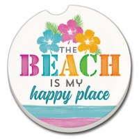 "3"" Round Beach Happy Place Car Coaster"