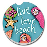 "3"" Round Live Love Beach Car Coaster"