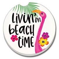"3"" Round Beach Time Car Coaster"