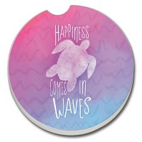 "3"" Round Happiness Comes In Waves Turtle Car Coaster"
