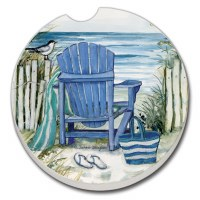 "3"" Round Blue Beach Chair Car Coaster"