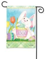 """13"""" x 18"""" Mini Easter Bunnys Here Garden Flag"""