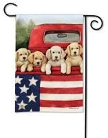 """13"""" x 18"""" Mini Patriotic Puppies Garden Flag"""