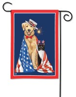 """13"""" x 18"""" Mini Cat and Dog With American Flag Garden Flag"""