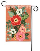 "13"" x 18"" Multicolored Flowers On Coral Garden Flag"