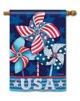"28"" x 40"" Patriotic Pinwheels Garden Flag"