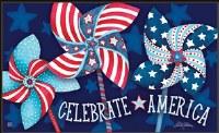 """18"""" x 30 Patriotic Pinwheels Doormat"""