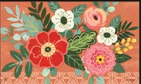 "18"" x 30"" Multicolored Flowers On Coral Doormat"