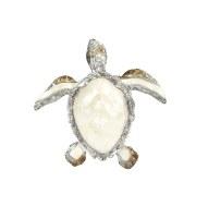 Small Gray and White Capiz Turtle Plaque