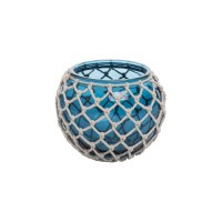 "6"" Round Blue Glass Votive Candle Holder With NEt"