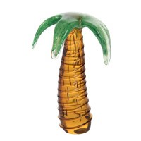 """7"""" Green and Brown Glass Palm"""