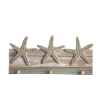 "15"" Green and White Washed Wood Starfish With 3 Hooks"